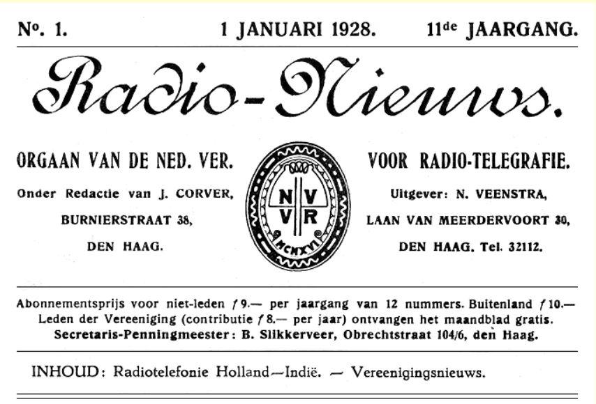 Radio Nieuws 1 januari 1928